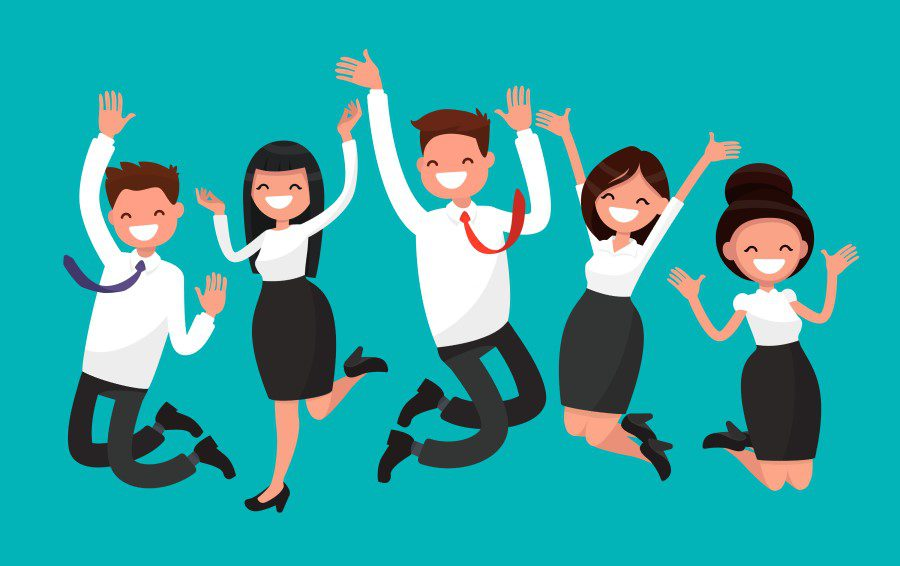 Cartoon of happy staff with a workplace wellbeing strategy